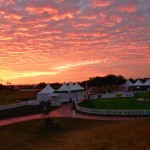 Red sky over the putting green
