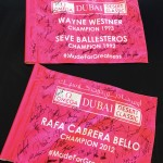 Rare signed Dubai Classic flags